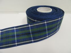 Louisiana Blue & Green Tartan Ribbon 2 metres or 25 metres (Full Roll) double sided scotish 12mm, 16mm, 25mm & 38mm